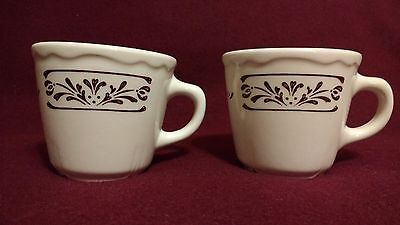 2 Homer Laughlin HLC USA Restaurant Coffee Cup Scalloped Brown Trim Mug