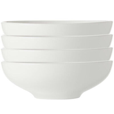 4x Maxwell & Williams White Basics Coupe Soup/Pasta Bowl 20cm/Cereal/Rice/Noodle