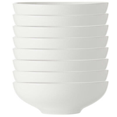 8x Maxwell & Williams White Basics Coupe Soup/Pasta Bowl 20cm/Cereal/Rice/Noodle
