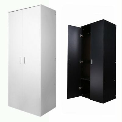 Finished 2 Door Double Wardrobe Bedroom Furniture W/ Hanging Rail Black & White
