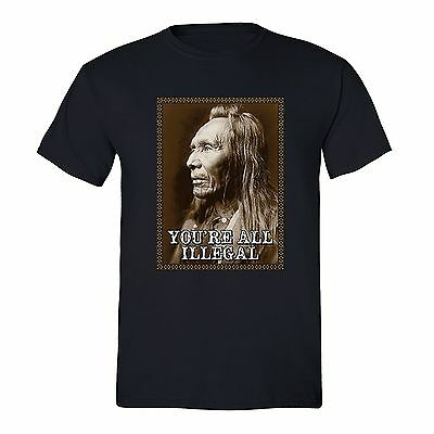 Mens All illegal Fighting Terrorism Native American Flag USA Indian T-shirt