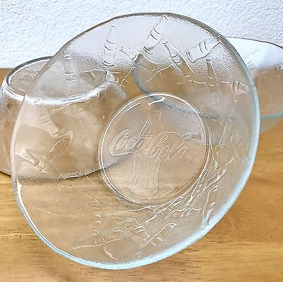 Lot of 3 Coca Cola Coke Embossed Bottles Frosted Glass Cereal Snack Bowl