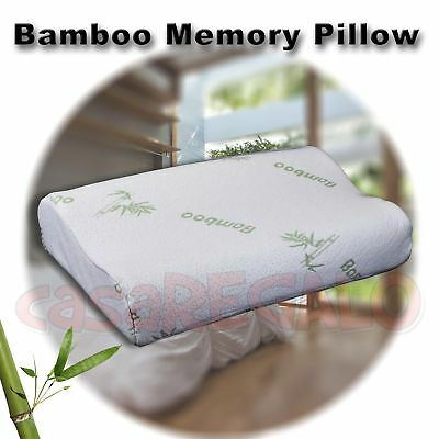 Bamboo Contour Pillow Memory Foam Fabric Fibre Cover 55 x 35cm AU Stock