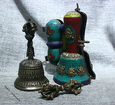 """Tibetan Temple Fane Ritual Old Bronze Gilt Silver Turquoise """"Five Pronged"""" Bell"""