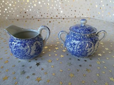 Matching Pair Sugar and Creamer - Beautiful Blue Design with Birds