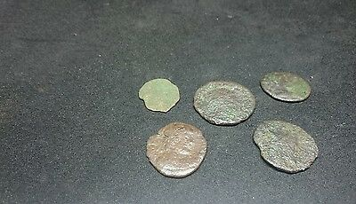 Lot of five worn Roman bronzes Unresearched