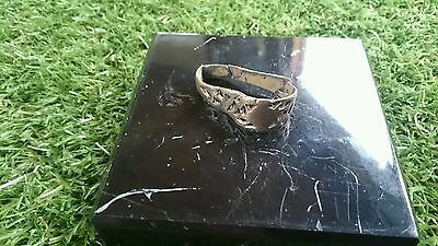 Roman Bronze bent ring professionaly cleaned on outside in showing patina f/m Uk