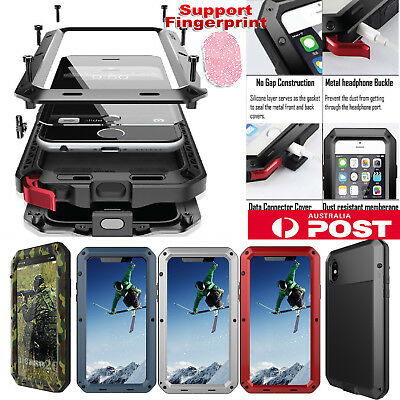 HEAVY DUTY Shockproof Aluminum Metal Rubber Hard Case Cover F iPhone X 7 8 Plus