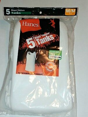 Boys A-Shirts Undershirt Tanks Hanes 5 Pack White Tshirts Medium New