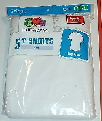 5 Pack Fruit Of The Loom Boys White Tshirts Small 6-8 New