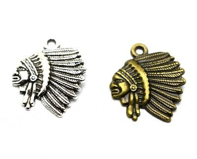 e564d8033d 4 PCS ANTIQUE Silver Indian Chief Native American Pendants A7928 ...