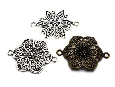 6pcs Antique Silver/Bronze Flower Connector Charm Pendants DIY Necklace Findings