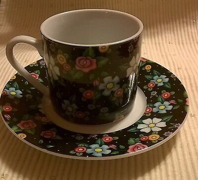 Mary Englebreit black floral tea cup 2002