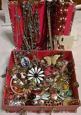 Box lot of Vintage and Modern Jewelry over 100 pieces! 3 1/2 lbs