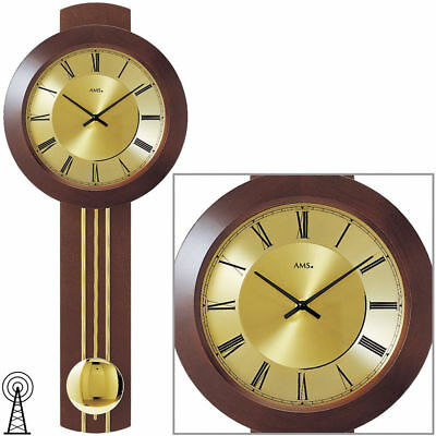AMS 5132/1 Wall Clock with Pendulum RC, Solid Wood Walnut Color Painted