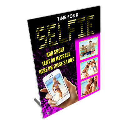 """Personalised Photos Selfie 8"""" x 10"""" Toughened Glass Frame With Peg Stand"""