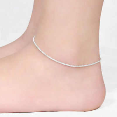 AU FREE POST 925 sterling silver stamped simple classic Cute Rope anklet gift