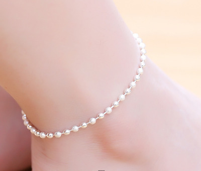 AU FREE POST 925 sterling silver stamped Polished classic Lucky Beads anklet