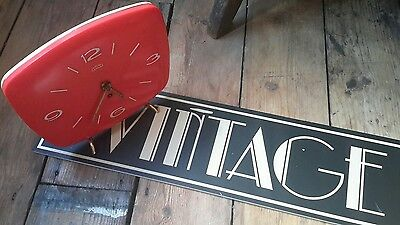 Vintage retro plastic Sputnik style stylish red desk table clock or wall clock
