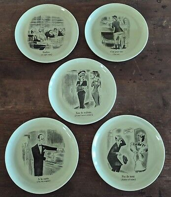 Vintage Fractured French Five Plates WS George 1950 Fred Pearson Green Black