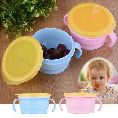 Infants Feeding Binaural Bowl Baby Soft Silicone Snack Cup No Spill BPA free