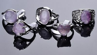10X Wholesale Jewelry Lots Fashion Unisex Amethyst Crystal Silver Plated Ring