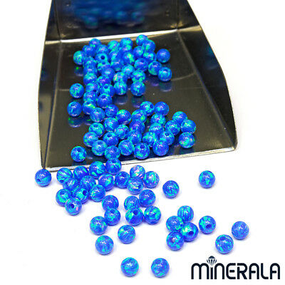 [1+1 AT 30%OFF] SYNTHETIC LAB CREATED OPAL ROUND BEADS BLUE 2mm-10mm FULL DRILL