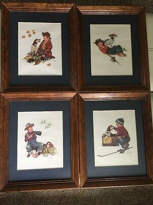 Norman Rockwell Four Seasons Boy Dog Framed Prints Art Picture Wall Hanging