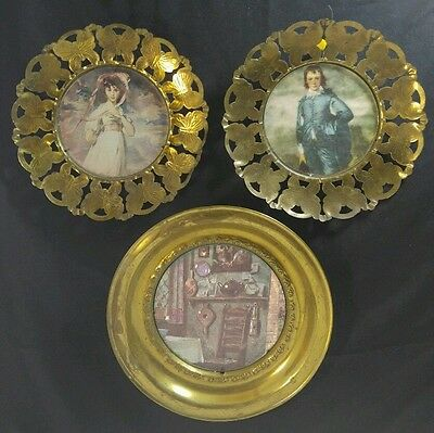 Vintage Solid Brass Lot 3 Made England Foil Art Wall Hanging Picture Plate