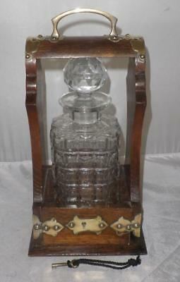 Vintage Crystal Glass Decanter In Original Carrier With Key