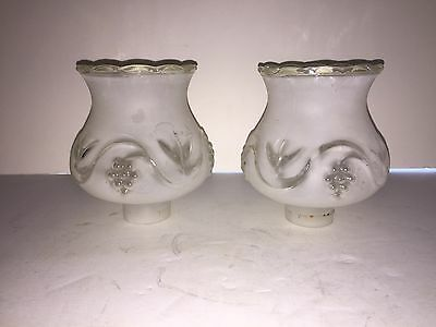 Antique pair frosted glass shades art deco table bedroom lamps