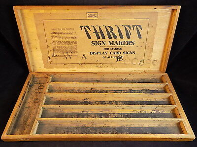 Vintage SUPERIOR TYPE COMPANY THRIFT SIGN MAKERS WOODEN BOX for letter stamps
