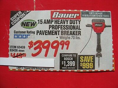HARBOR FREIGHT SAVE $999  ***COUPON for 15 amp heavy duty pavement breaker