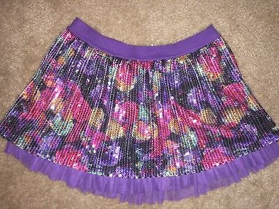 Girls Size 14 Super Sparkly Colorful Skort By Justice Skirt With Shorts Purple !