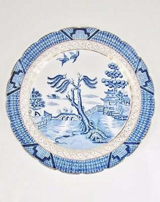 """Real Old Willow 8"""" SIDE / FRUIT PLATE by BOOTHS Silicon China Blue + White"""