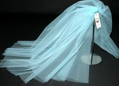 Blue Veil Wedding Any Length 2 Tier Short Long Plain LBV156 LB Wedding Veils UK