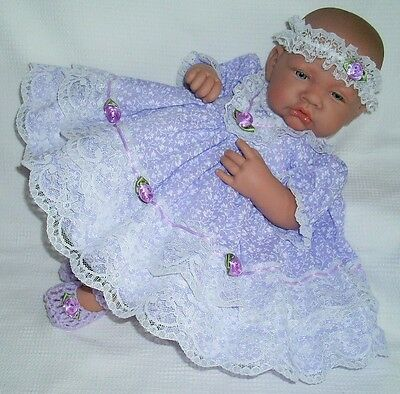 "Lilac Frilly Dress Hbd Premature Baby 3-5 lbs 15-18/"" Reborn Doll 1939 Dolly Togs"