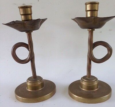 SOLID BRASS old  ARTS and CRAFTS brass CANDLESTICKS mission furniture TULIP FORM