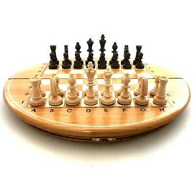 Hand carved chess set with wooden round board, handcraft, handmade classic game