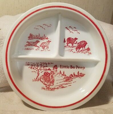 Vintage Little Bo Peep, Children's Divided Plate, Transferware