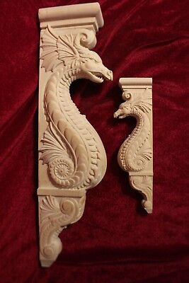 "Wooden Corbel/bracket Dragon. Wall Fireplace decor.  Carved from wood. 40"" size"