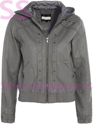 Girls Biker JACKET Age 7 8 9 10 11 12 13 Faux Leather Hooded Coat Black Grey