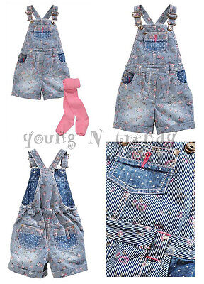 RRP £ 22 BNWT NEXT 4-5 years girl FLORAL BLUE DENIM DUNGAREES*PINK TIGHTS SET
