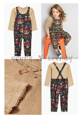 BNWT NEXT 3-4 years girl POINTELLE TOP*FLORAL DUNGAREES*PLAYSUIT SET