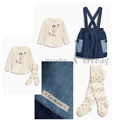 BNWT NEXT 9-12-18-24 months 2-3-4-5-6 y girl FAIRY TOP*DENIM SKIRT*TIGHTS SET