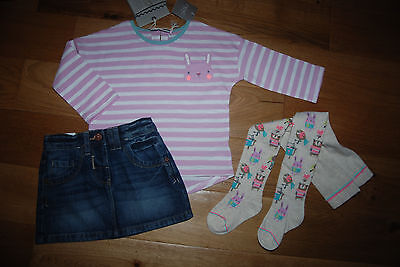 BNWT NEXT 18-24 months 2-3-4 years girl PINK TOP*DENIM SKIRT*ANIMALS TIGHTS SET