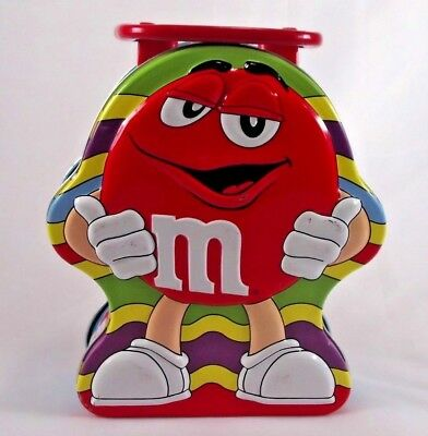 2003 Collectible M&Ms Small Metal Lunch Box Tin with Hinged Lid Red Mars