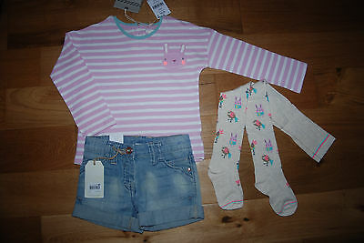 BNWT NEXT 4-5 years girls PINK TOP*DENIM SHORTS*ANIMALS TIGHTS SET