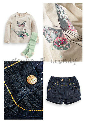BNWT NEXT 4-5 years girl BUTTERFLY TOP*DENIM SHORTS*GREEN STRIPED TIGHTS SET