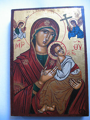 Madonna Jesus Christ Mother and Child Byzantine Art on Wood Certificate Wax Seal